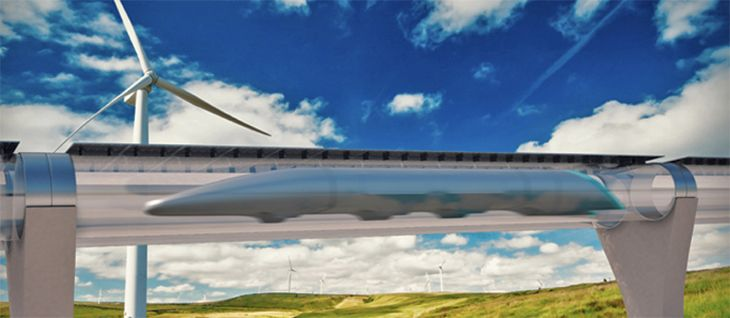 Rendeering of as Hyperloop vehicle in an elevated tube. (Image: Hyperloop Transportation Technologies)