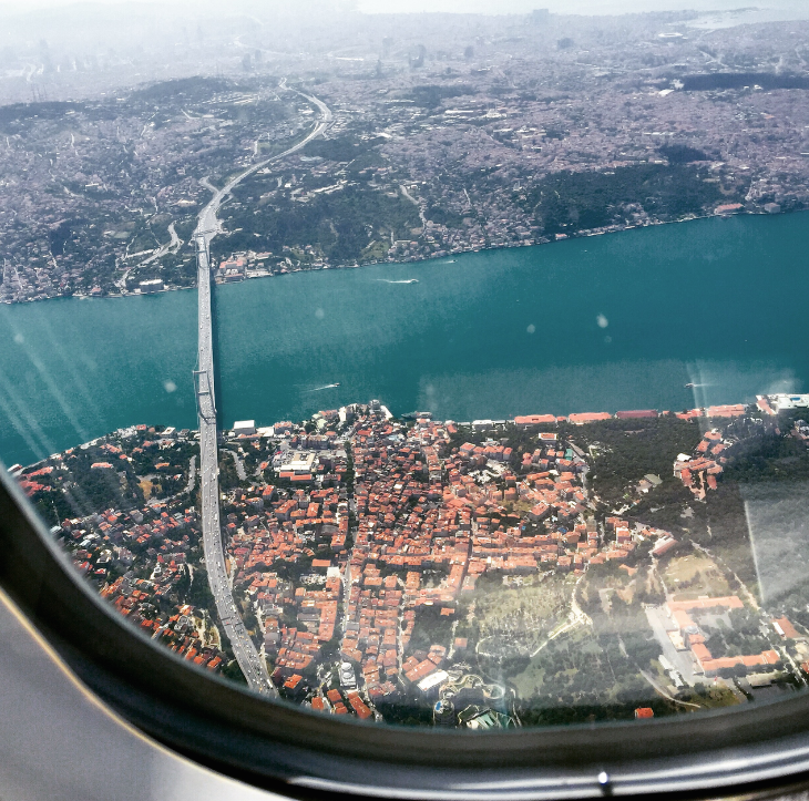 Flying over the Bosporous, where Europe and Asia meet, on Turkish Airlines (Photo: Chris McGinnis) CLICK to follow me on Instagram!)
