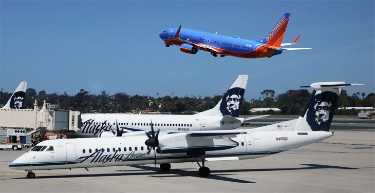 Alaska, Southwest, United and JetBlue are all growing at SJC. (Image: Jim Glab)