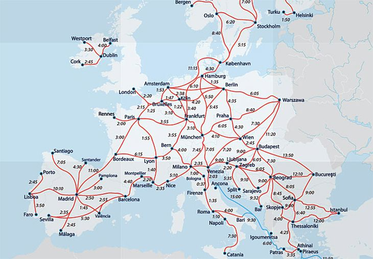 High-speed train travel times in Europe. (Image: Eurail)