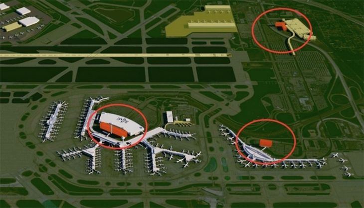 The O'Hare Hilton is at left, and the proposed sites of O'Hare's two new hotels are on the right. (Image: City of Chicago)