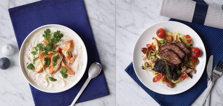 Improved in-flight menus are designed by the Chicago-based Trotter Group. (Image: United)