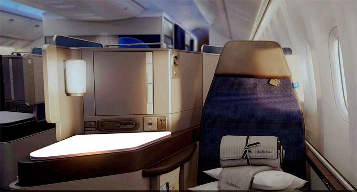 A typical window seat in United's new Polaris business class. (Image: United)