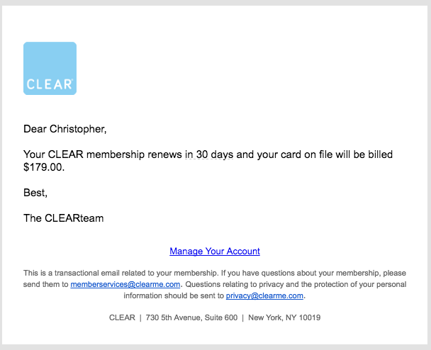 Renewal email from CLEAR