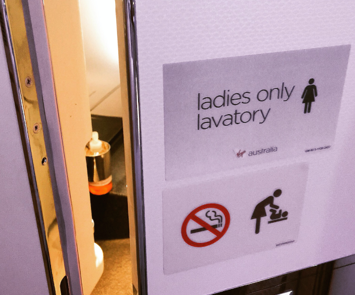 In business class, there's a ladies-only lav (Photo: Chris McGinnis)