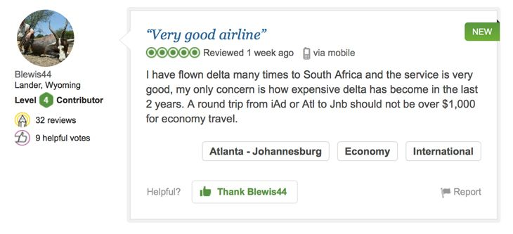 A typical flight review from TripAdvisor's new database.