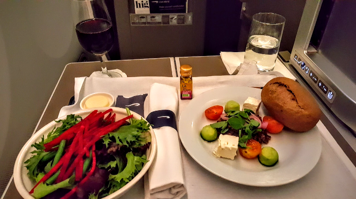 Starter salad and separate salad course in BA business class (Scott Hintz)