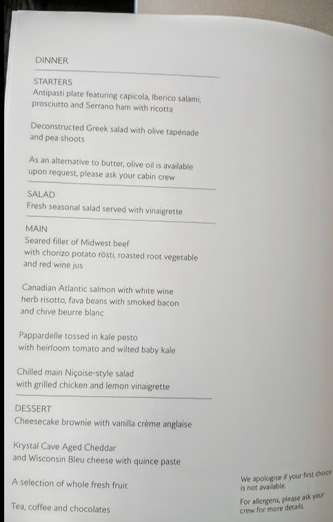 British Airways menu business class