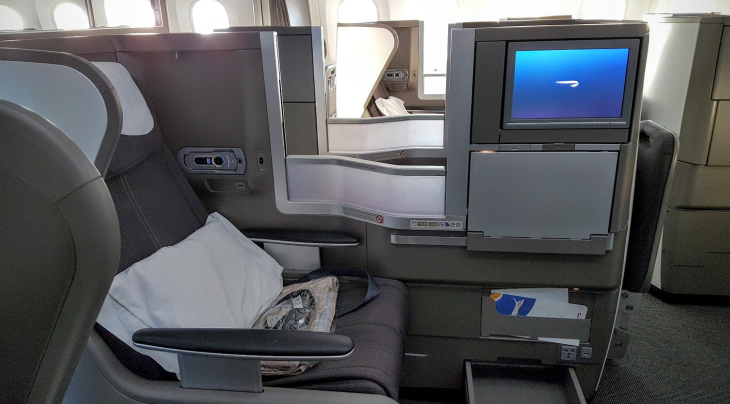 British Airways business class 787