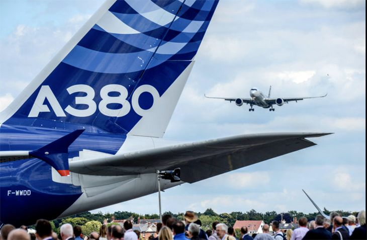 An Airbus A380 an an air show with an A350 approaching. (Image: Airbus)