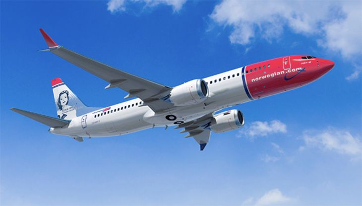A Boeing 737 MAX in Norwegian livery. (Image: Boeing)
