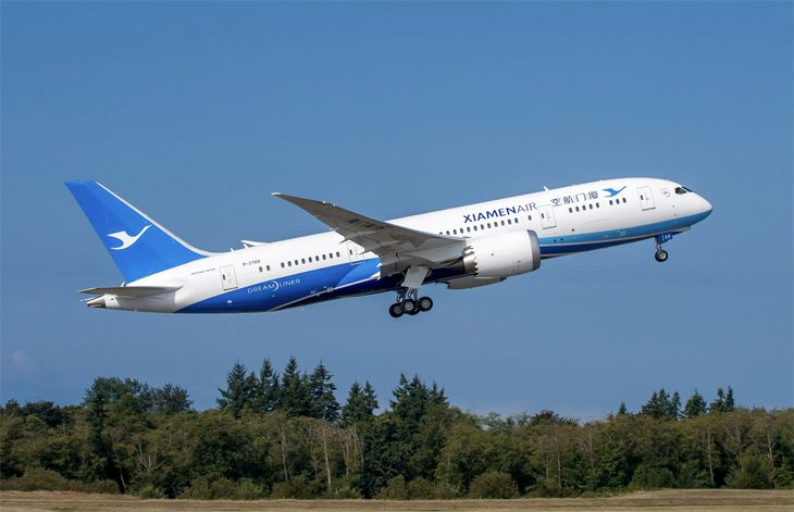 A Xiamen Airlines 787 now flies to Seattle from Xiamen (Image: Boeing)