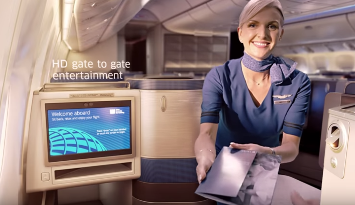 United Polaris business class flight attendant