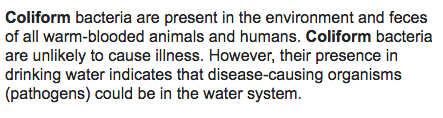 Here's how the Dept of Health describes coliform bacteria