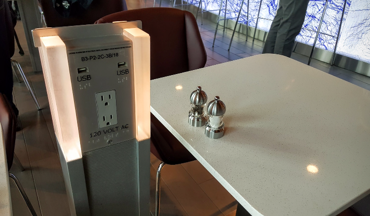 "Power ports are everywhere, including these ""power towers"" throughout the dining area (Photo: Scott Hintz)"