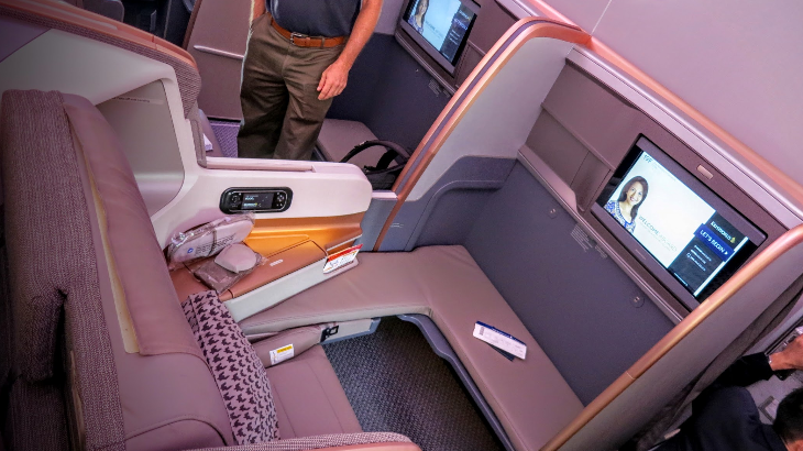 Bulkhead seat 19F: My business class playpen for the next 17 hours on SIA's Airbus A350 (Photo: Chris McGinnis)