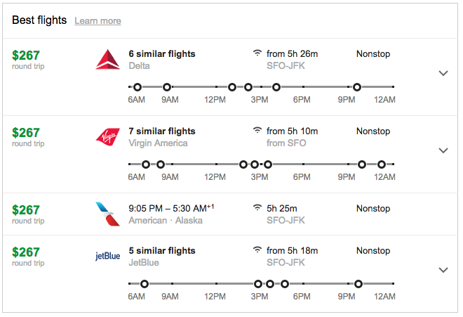 Google flights for trips Dec 5-Dec 12