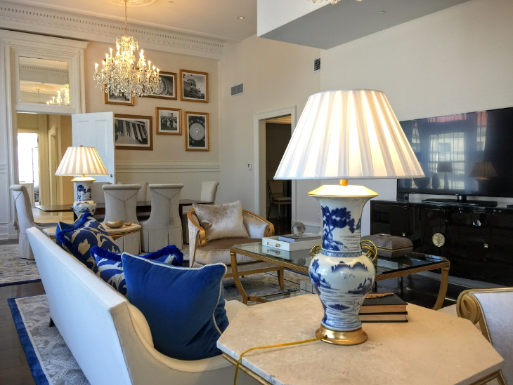 Suites at the Trump International decorated in Navy blue and white- and lots of crystal (Chris McGinnis)