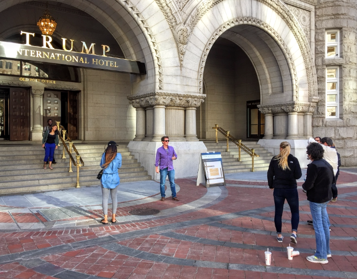 Tourists snagging selfies at the Pennsylvania Ave entrance to the Trump DC (Chris McGinnis)