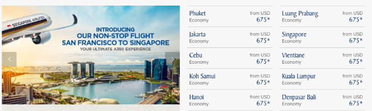 Lowest economy fares start as low as $675 on Singapore.