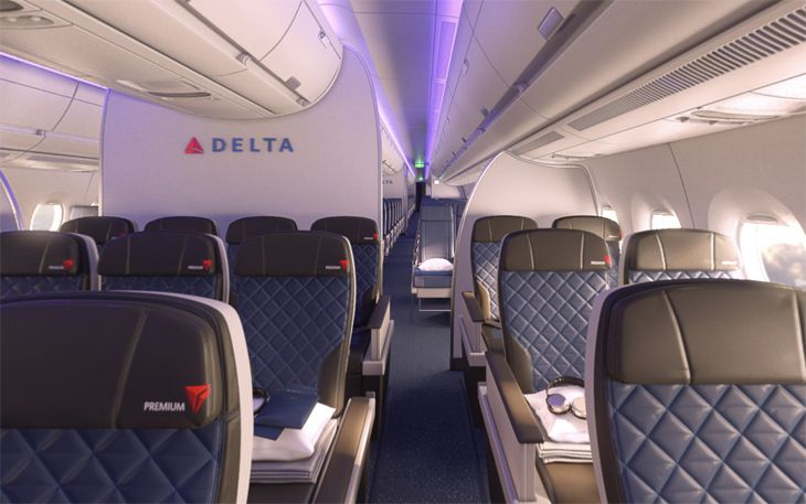 Delta's premium economy cabin will debut on its A350s in about a year. (Image: Delta)