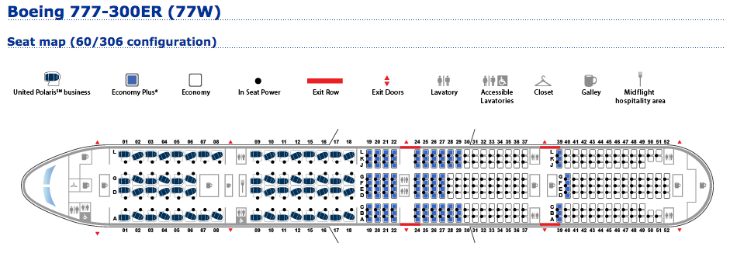 Seatmap of United's newest bird: The Boeing 777-300ER CLICK for details