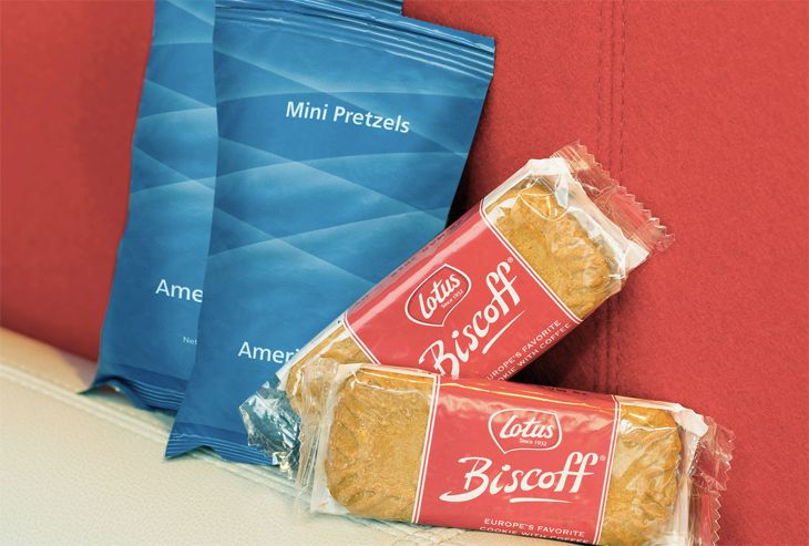 Economy class snack items on American. (Image: American Airlines)