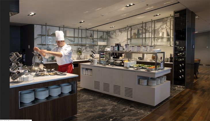 The food service area in Air Canada's Montreal Maple Leaf Lounge. (Image: Air Canada)