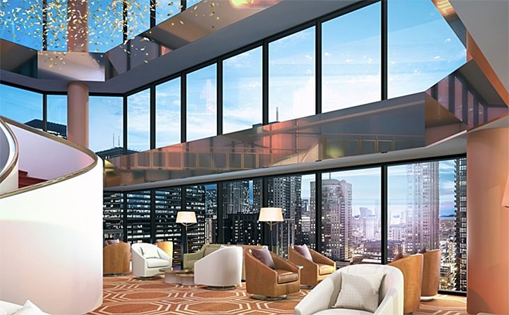An atrium with a view at the new Conrad Chicago.(Image: Conrad Hotels)