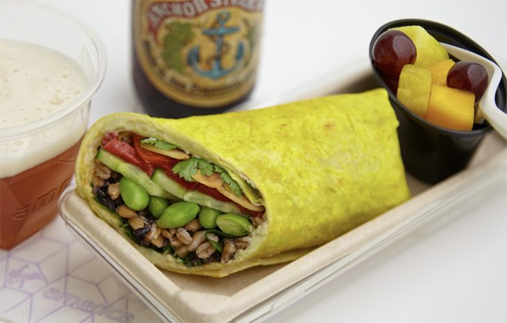 An edamame wrap on Virgin America. (Image: Virgin America)