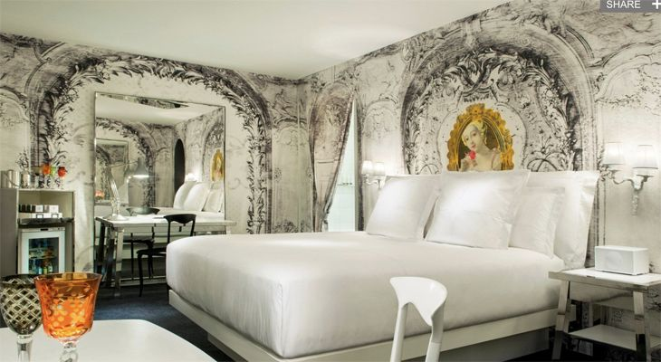 A Philippe Starck-designed guest room at the new W Las Vegas. (Image: Marriott)