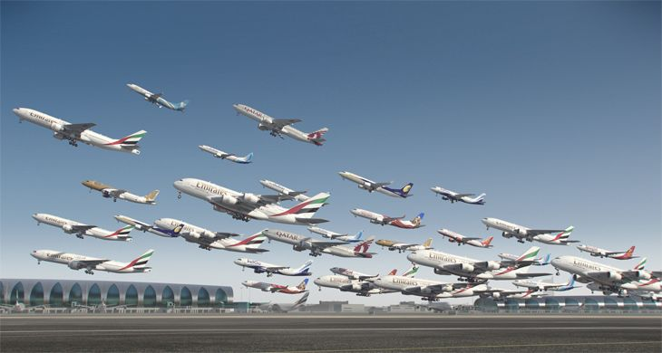 Composite of airliner take-offs at Dubai's airport. (Image: BBC)