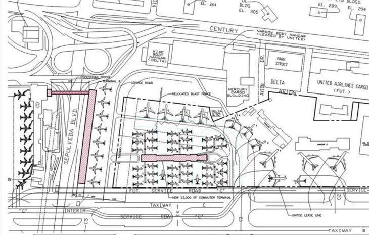 An old plan for LAX shows a Terminal 9 linked to Concourse 8 by a bridge, and a commuter terminal. (Image: GPA Architects)