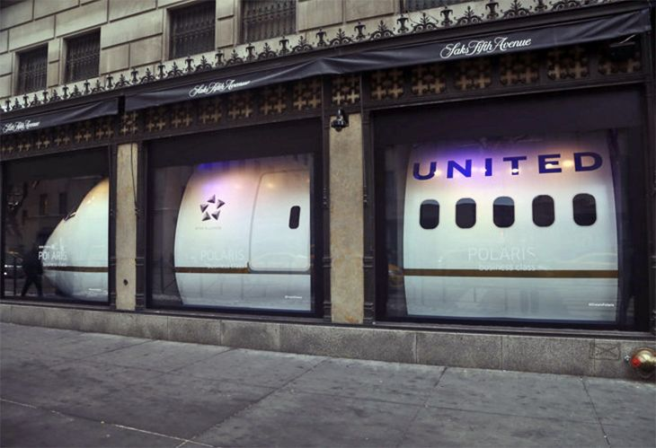 United stuffed a plane into Saks' windows to promote its Polaris cabin. (Image: United)