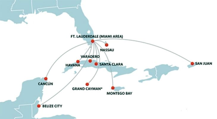 Southwest's ecxpanded Caribbean network put of Ft. Lauderdale. (Image: Southwest)