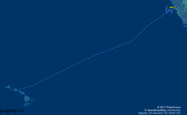 Mid point to Hawaii is 1,250 miles from the nearest airport-- no place to be flying a faulty plane! (Image: FlightAware)