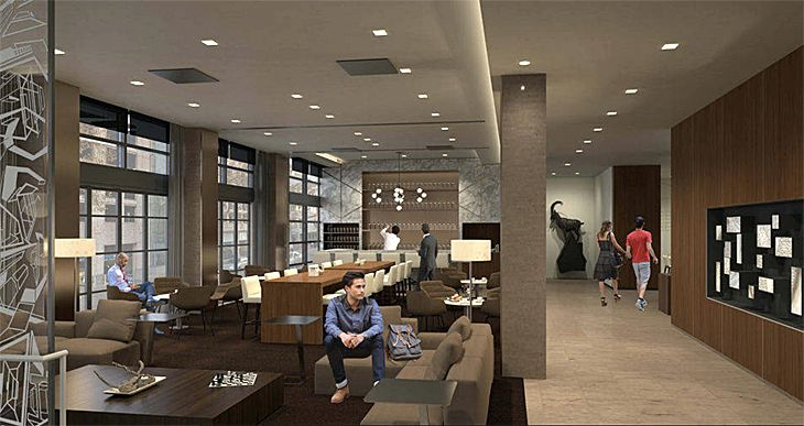 Public space at the new AC Hotel in downtown Portland. (Image: Marriott)