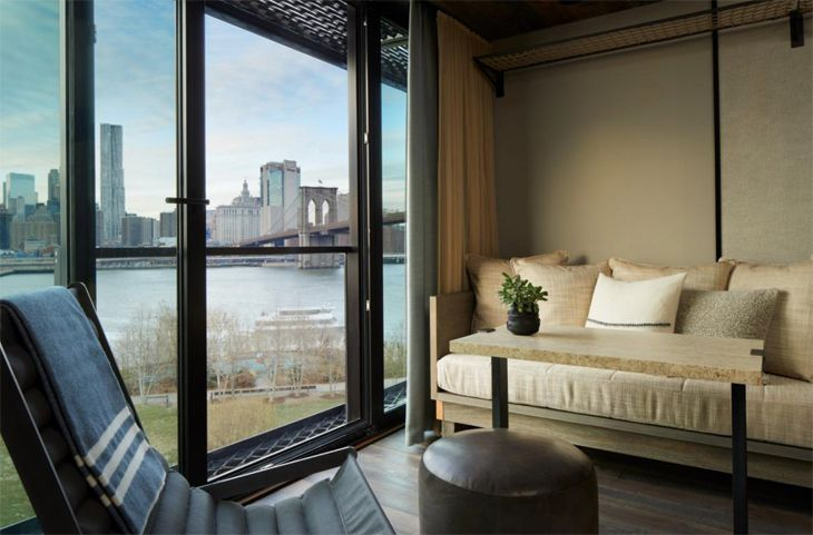 New York's new 1 Hotel in Brooklyn has views of Manhattan. (Image: 1 Hotels)