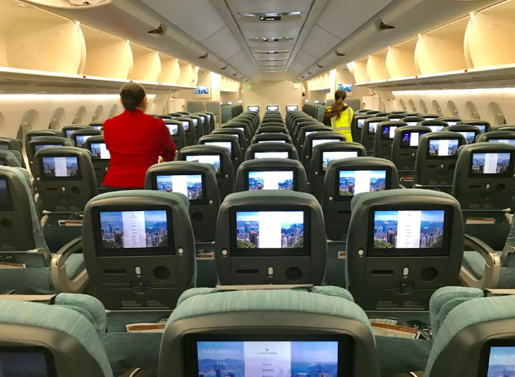 Economy class Cathay Pacific A350 screens