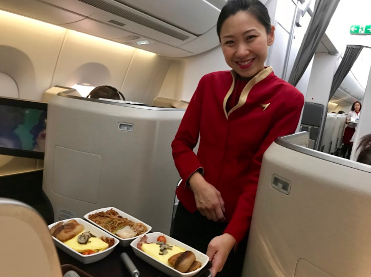 breakfast flight attendant Cathay Pacific
