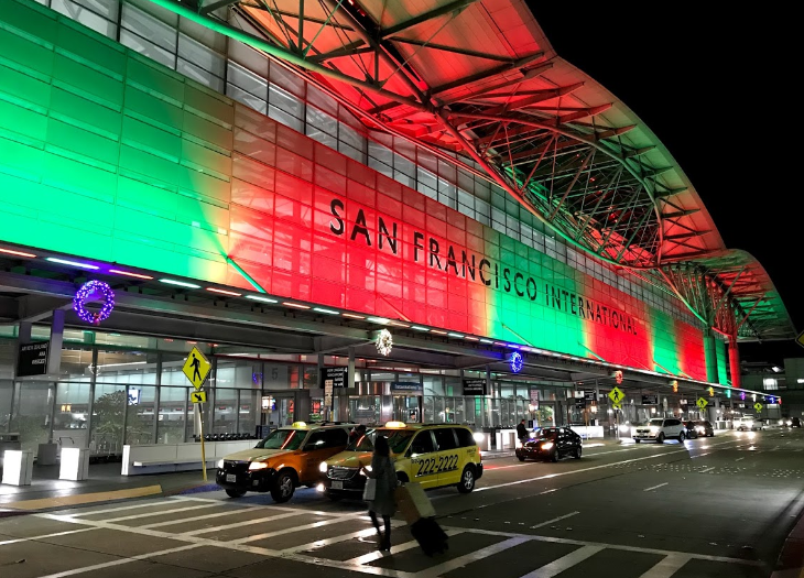 SFO Christmas lights