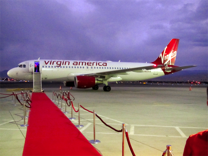 A red carpet welcome under wintry skies at Palm Springs International