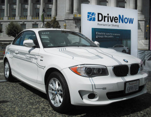 One of BMW's electric DriveNow cars in SF (Photo: DriveNow)