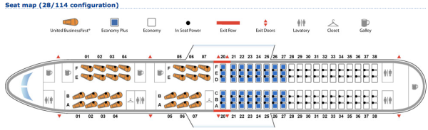 New configuration for United PS 757's between SFO and JFK.