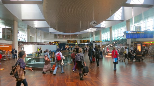 Copenhagen Airport has gorgeous, functional stained wood flooring throughout. Nice! (Photo: Chris McGinnis)