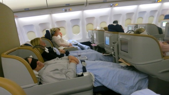 "In business class, SAS offers an ""angled lie flat"" seat. (Photo: Chris McGinnis)"