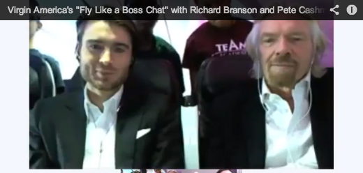 Pete Cashmore (Mashable) and Richard Branson on the Virgin America Inaugural LAX-EWR flight.