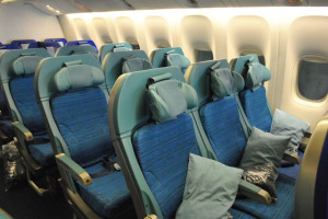 Cathay Pacific's fixed shell economy seat onboard its Boeing 747-400 (Tom Mascardo 3)