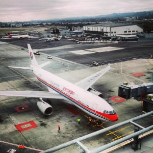 A China Eastern A330 at the gate at SFO (Photo: Peter Biaggi)