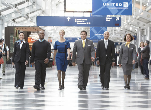 United employees in new duds (Photo: United Airlines)